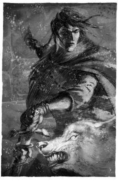 Jon Snow    Illustrations for the spanish edition of A song of Ice and Fire, concretely the artbook El arte de Canción de Hielo y Fuego edited by Gigamesh    Art by Enrique Corominas