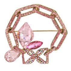 EVER FAITH® Cristal Autrichien Art Déco Goutte d'Eau Cercle Creux Broche Plaqué Or Rose N05841-5