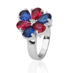 White Gold Plated Ring Floral Waterdrop Fancy Color Zirconia Ring