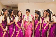 "264 likerklikk, 2 kommentarer – South Asian Fashion Portal (@sarinista) på Instagram: ""@sarinista 🔶 feat. @rahjamdesignersilks ・・・ Our bride @sophiesiva with her stunning bridesmaids 😍…"""