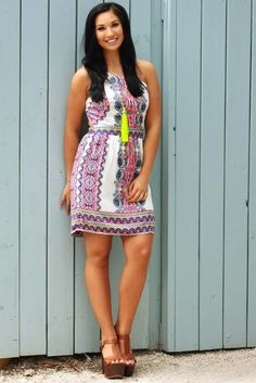 Share to save 10% on  your order instantly!  Perfect Pop Of Color Dress: Multi