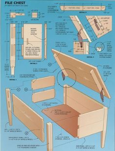 Woodworking plan for file chest. Complete woodworking plans with detail descriptions can be found on my website: www.tedswoodworkplans.com