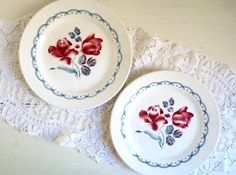 Vintage 2 FRENCH SIDE PLATES with Burgundy Red by FrenchKlimBim