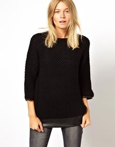 Mango Chunky Knitted jumper With Leather Look Trim
