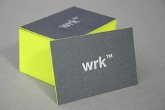This is the color scheme I'm looking at--only a little warmer. Awesome  |  The WRK business cards were created byMark Lindop, a brand identity designer from WRK™ , the business cards use letterpress and edge painting to full effect.