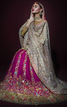 Purple and Gold Bridal Lehenga Set