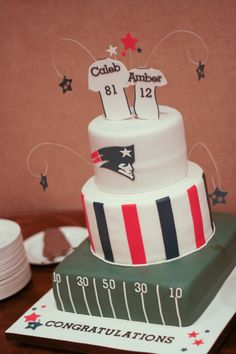 Our Son Caleb is a HUGE Pats Fan - This was his groom's cake
