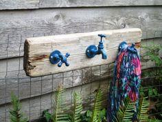 Decorative Blue Metal Tap Towel Rack Hanging by BlackCrowCurios