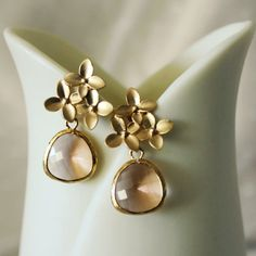 Peach Cherry Blossom Earrings Gold by anatoliantaledesign on Etsy, $26.00