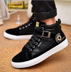 NEW High top Men's shoes Casual Shoes Fashion Boots Street Sneakers leather shoe   eBay