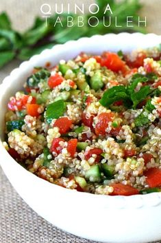 Gluten Free & Easy Quinoa Tabbouleh Recipe.  The perfect healthy summer salad! TheFitFoodieMama.com