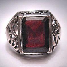 Antique Vintage Victorian Garnet Ring Silver Filigree