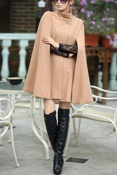 Cape Style Standing Collar Wool Coat OASAP.com $126.00