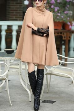 Cape Style Standing Collar Wool Coat