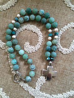Aqua with Silver Cross