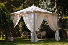 Design Moderne, Looking Gorgeous, Gazebo, Outdoor Living, Outdoor Structures, Curtains, Green, Garden Ideas, Romantic