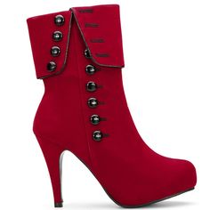 Suede Button Decoration Mid-calf Boots