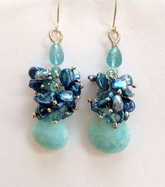 Keishi Pearl Earrings Blue by DoolittleJewelry on Etsy