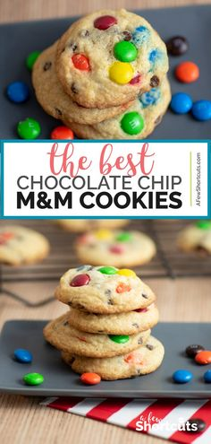 Craving a warm, chewy, chocolatey cookie! You need The Best Chocolate Chip M&M Cookies Recipe! Easy to make and it's truly the best! The Best Chocolate Chip M&M Cookies - The Best Chocolate Chip M&M Cookies Recipe - A Few Shortcuts M M Cookies, Yummy Cookies, Cookies Et Biscuits, Baking Cookies, Gluten Free Chocolate, Best Chocolate, Freezer Cookies, Freezer Desserts, Freezer Meals
