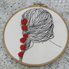 """110 curtidas, 4 comentários - @jidong_yoon no Instagram: """"#woman back of the head illustration embroidery #Illustration embroidery 여인 뒷모습~~ 몇번을 뜯고 또…"""""""