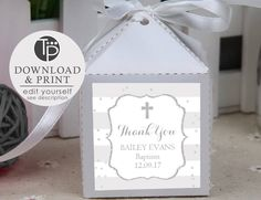 Gray BAPTISM Favor Tag, Boy Baptism Gift Tags, Boy Baptism Favor Tag, Baptism Printable, Baptism Bonbonniere, Thank you Tag, Gray and white by TweetPartyPrintables on Etsy Baptism Gifts For Boys, Boy Baptism, Christening Invitations, Baptism Favors, Favor Tags, Gift Tags, Thank You Tags, Grey And White, Place Card Holders