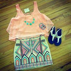 Zeliha's Blog: Aztec Shorts Top Coral Cute Summer Outfits