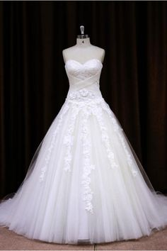Tulle Beaded Sweetheart Ball Gown Wedding Dress With Lace Appliques