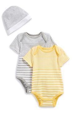 Vince Pima Cotton Bodysuits & Hat (Set of 3) (Baby Boys) available at #Nordstrom