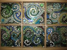 Glass beads & tiles - mosaic on old window