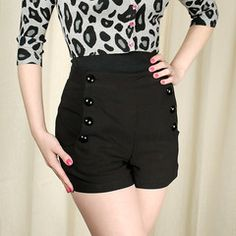 VooDoo Vixen Black High Waist Sailor Shorts available in XL