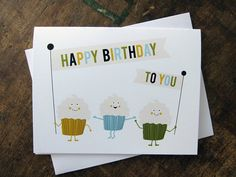 Happy Birthday To You Cupcake Parade Greeting Card