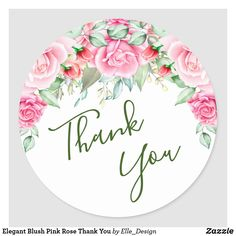 Elegant Blush Pink Rose Thank You Classic Round Sticker Thank You Labels, Thank You Stickers, Thank You Gifts, Thank You Cards, Thank You Images, Thank You Quotes, Thank You Messages Gratitude, Thank You Wallpaper, Logo Online Shop