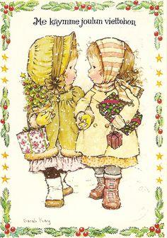 ❤️️️️Vintage Postcard ~ Sarah Kay 1980 ~ Friends and christmas