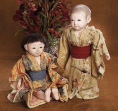 Upon Arriving Home: 237 Pair,Japanese Ichimatsu Dolls in Original Costumes