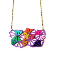Geometric Leather Triangles Bib Necklace by BooandBooFactory on Etsy