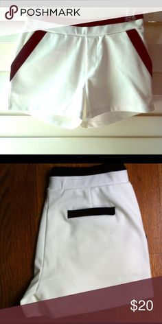 Tuxedo Style Shorts Black and white tuxedo style shirts. Elastic waistband, stretchy material. Very comfy and perfect for summer. 27 inch waist/ small Shorts