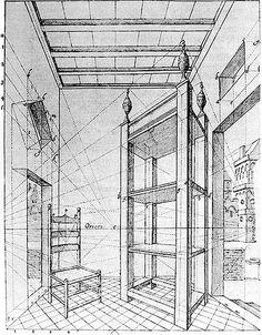 Dessin de De Hondt comportant autant de points de fuite que d'angles de fuyantes. En utilisant le fait qu'un certain nombre de lignes se rencontrent lorsqu'elles sont fictivement prolongées sur la perspective, l'auteur parvient à reconstituer la ligne d'horizon. - Point de fuite