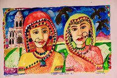 Watercolour New Delhi - two ladies 2018 Two Ladies, New Delhi, Watercolour, Faces, Princess Zelda, India, Lady, Painting, Fictional Characters