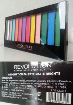 Prime Impressioni: Makeup Revolution Redemption Palette Matte Brights http://she-wore-shiseido-red.blogspot.it/2014/06/prime-impressioni-makeup-revolution_7.html