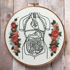 Torso humano floral mano bordado aro arte. Mano por MoonriseWhims
