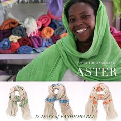We're continuing in our 12 days of fashionABLE ... And today, in light of #GivingTuesday, we're talking about the best gift you can give: a job. We're highlighting one of the heroic women we work with, Aster. Head to the blog to read more about her story. // and in her honor, our daily deal is all 3 Aster scarves for $98 (a savings of $76!!)