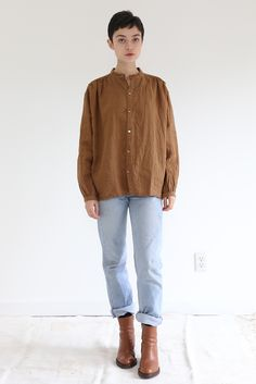 f059dc2411 Persimmon Dyed Linen Blouse. Linen BlouseIchiAntiquitiesCool OutfitsCool  ClothesAntiquesDope Outfits