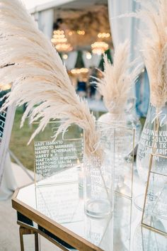 : Natural Luxe Beach-Inspired Bali Wedding at Alila Villas Uluwatu Creative seating chart signage with names written on various glass vases + frames Luxe Wedding, Bali Wedding, Floral Wedding, Diy Wedding, Wedding Day, Wedding Tips, Beach Wedding Tables, Destination Wedding, Dream Wedding
