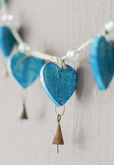 Turquoise blue heart and brass garland I Love Heart, Happy Heart, My Heart, Crazy Heart, Rebel Heart, Heart Garland, Heart Crafts, Wooden Hearts Crafts, Love Symbols