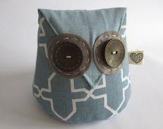 IHeartStitchingSA on Etsy Owl doorstop White Leaf, Blue And White, Owl Doorstop, Geometric Owl, Fox Pattern, Door Stopper, Owl Patterns, Cute Designs, Sunglasses Case