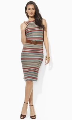 Striped Knit Linen Dress - Lauren Short Dresses - RalphLauren.com