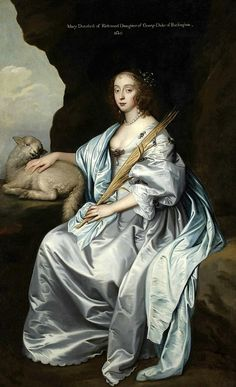 Circle of Sir Anthony van Dyck (1599-1641): Portrait of Lady Mary Villiers, Lady Herbert and later Duchess of Lennox and Richmond as Saint Agnes. 1640.
