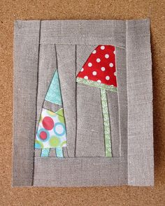 gnome and mushroom! @Ashley Nesbitt are  you ready for a new quilting challenge?