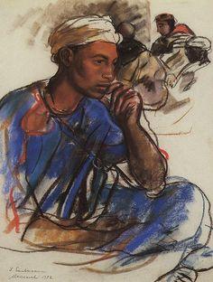 Thoughtful man in blue, Marrakesh.  1932, Zinaida Serebriakova