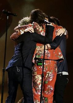 One Direction group hug on stage at The X Factor Final (last big event before the break) -